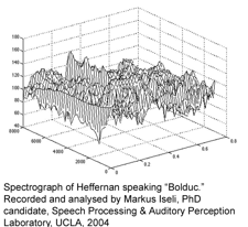 "Spectrograph of Heffernan speaking, ""Bolduc."" Recorded and analyzed by Marcus Iseli ( PhD candidate) Speech Processing & Auditory Perception Lab, UCLA, 2004"