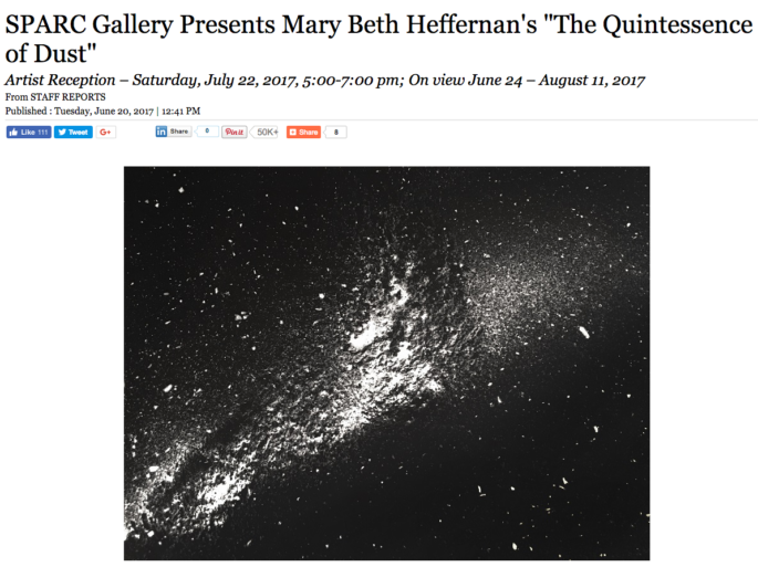 "SPARC Gallery Presents Mary Beth Heffernan's ""The Quintessence of Dust"""